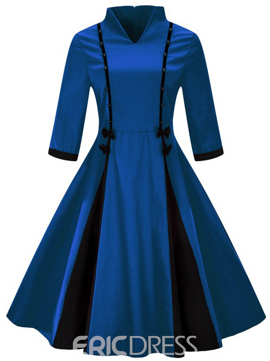Ericdress Vintage Stand Collar Bowknot A-Line Dress