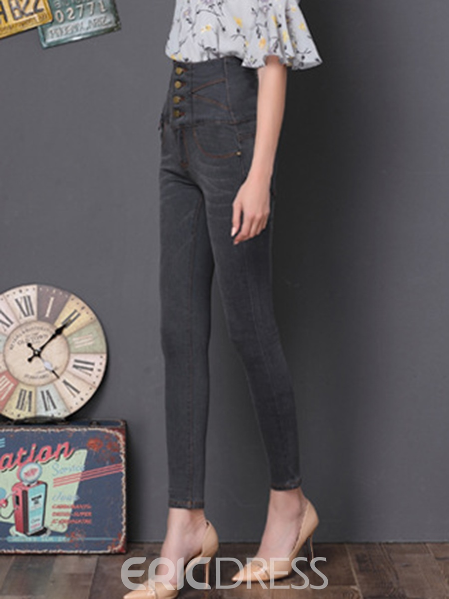 Ericdress High-Waist Denim Button Skinny Women's Pencil Pants