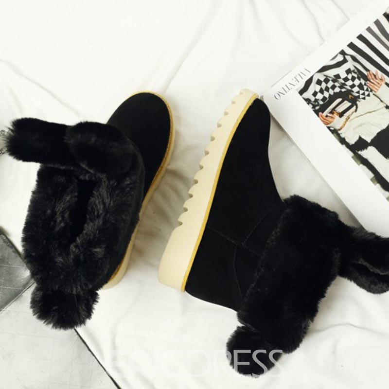 Ericdress Lovely Fuzzy Slip-On Snow Boots