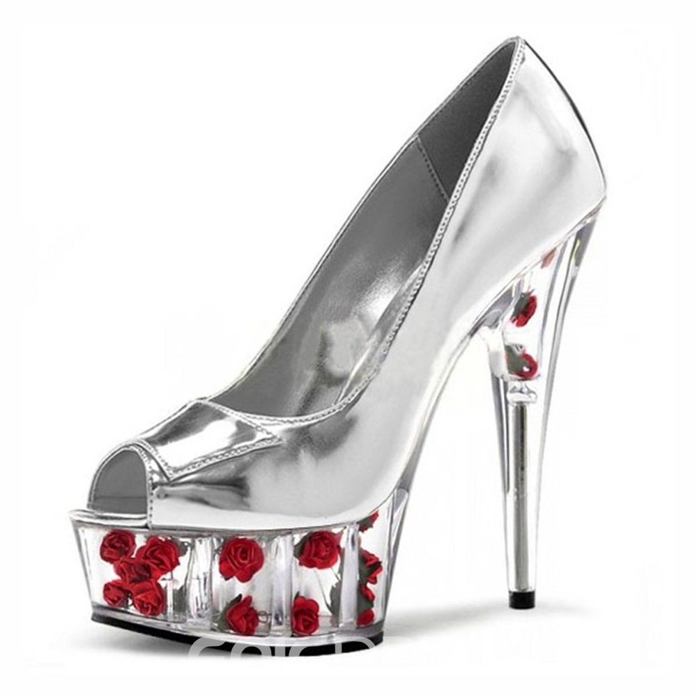 Ericdress Floral Peep Toe Platform Women's Stiletto Heel Shoes