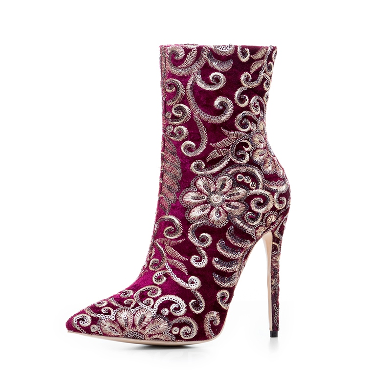 Ericdress Embroidery Pointed Toe Plain Stiletto Heel Boots