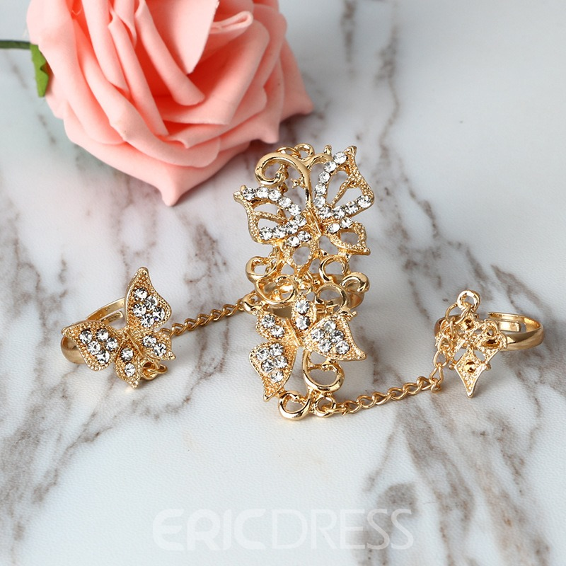 Ericdress National Style Butterfly Diamante Opening Ring
