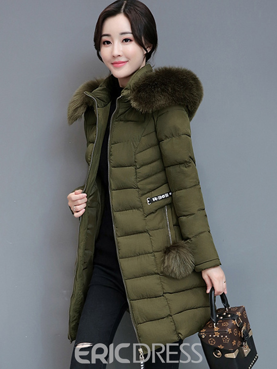 Ericdress Plain Hooded Mid-Length Thick Coat