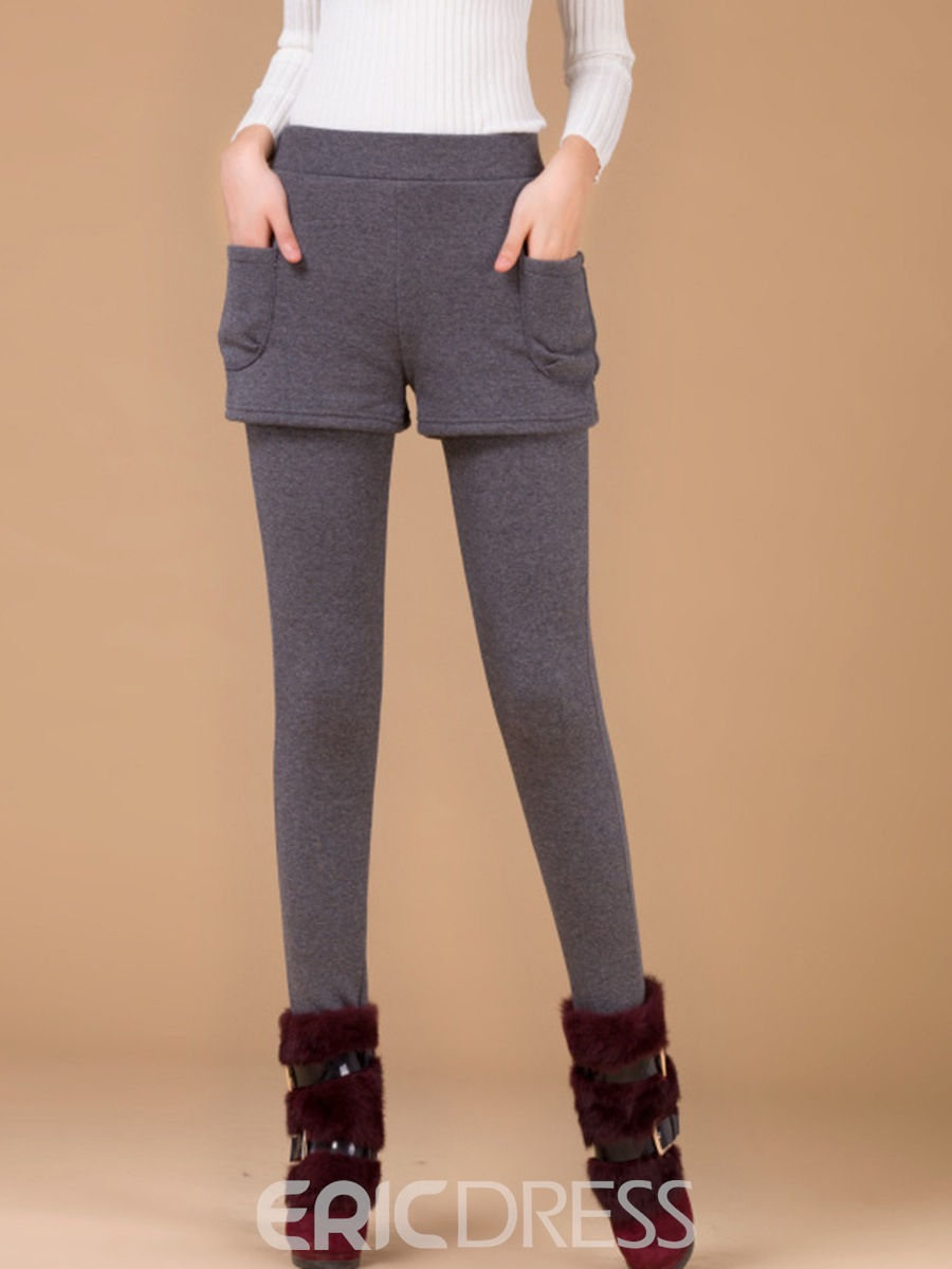 Ericdress Mid-Waist Plain Thick Women's Leggings