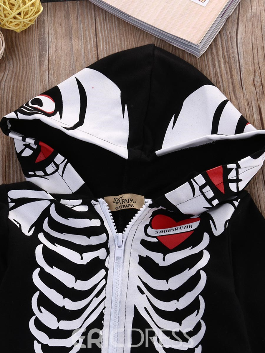 Ericdress Skull Print Zipper Hooded Baby Boy's Clothing