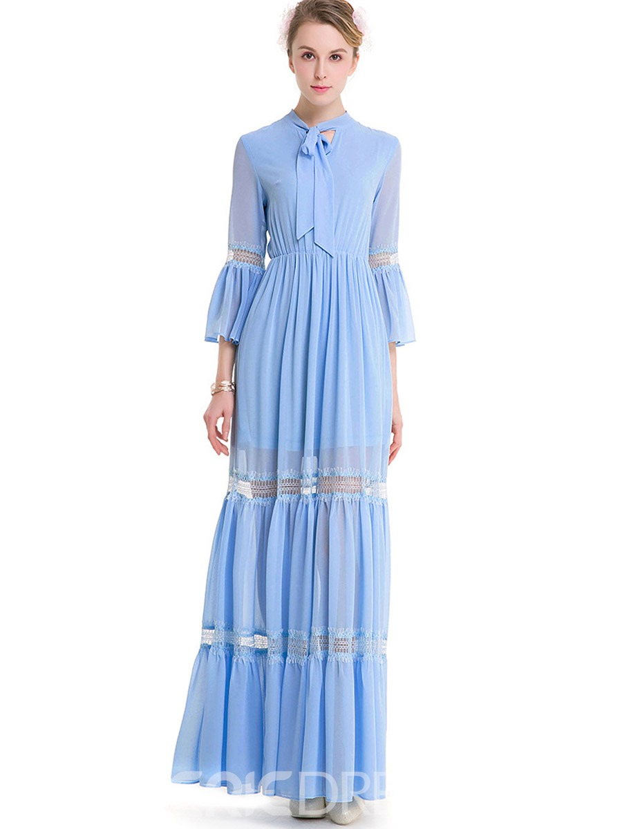 Ericdress Hollow See Through Lace Bow Maxi Dress 13009890