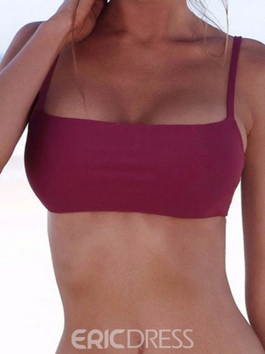 Ericdress Solid Color Rectangle Bikini Top