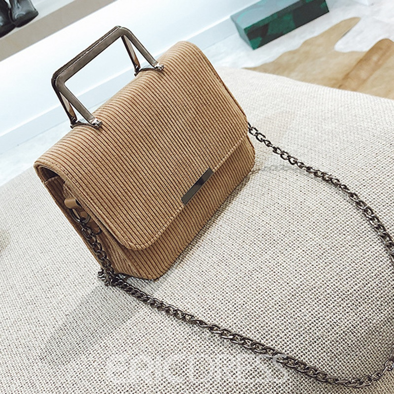 Ericdress Solid Color Stripe Corduroy Crossbody Bag