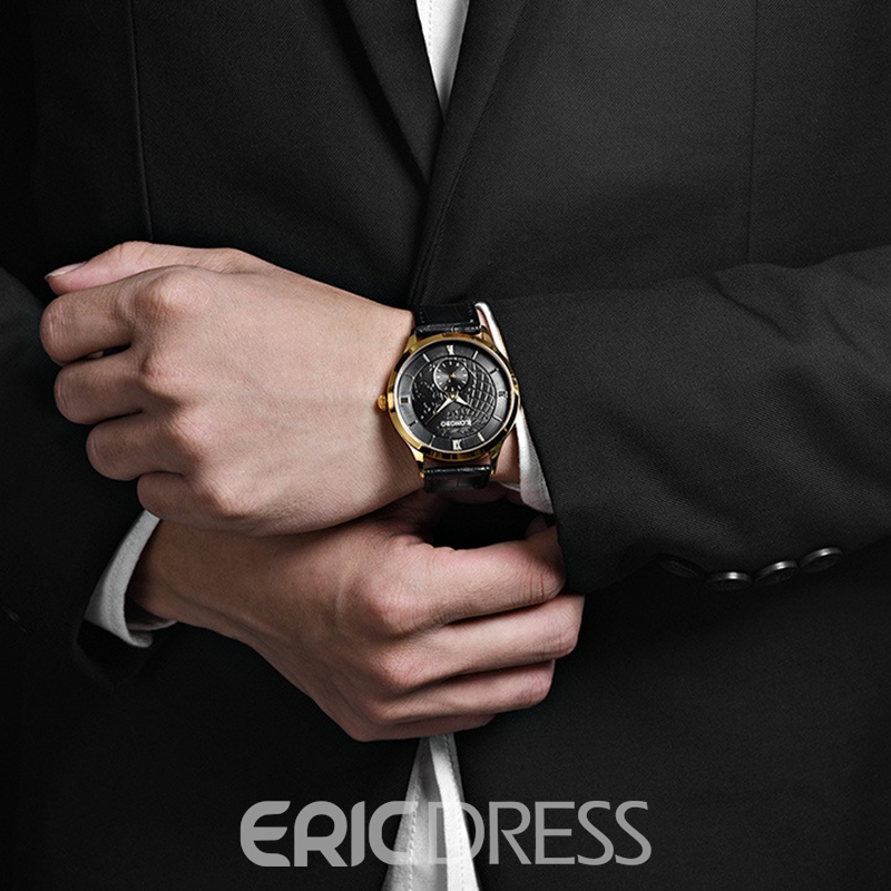 Ericdress JYY Classic Waterproof Leather Strap Men's Watch