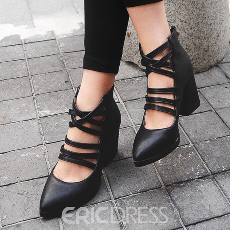 Ericdress Fashion Hollow Chunky Heel Ankle Boots