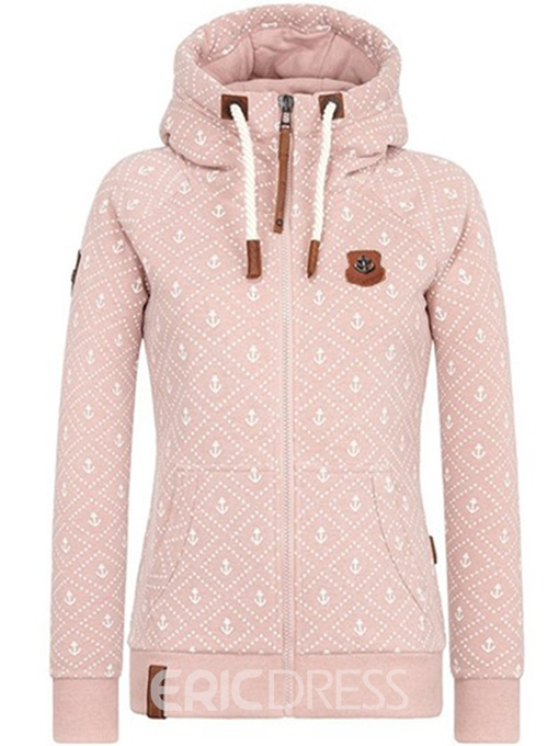 Ericdress Slim Zipper Print Cool Hoodie