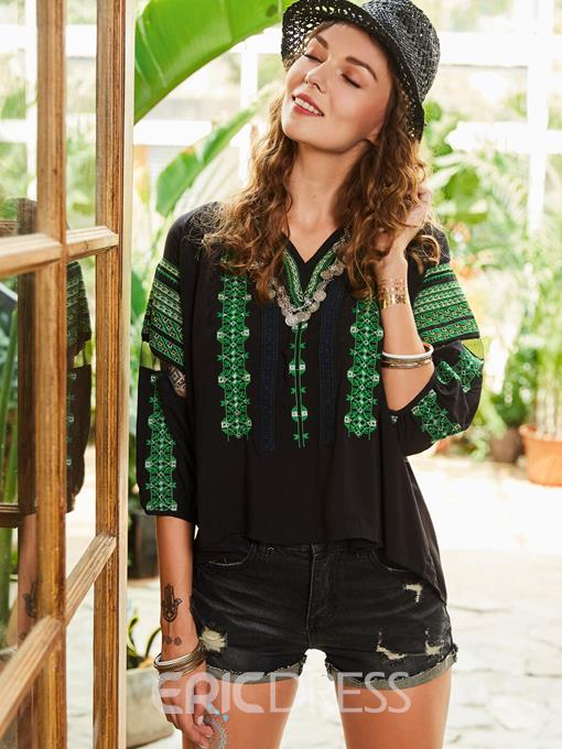 Ericdress Color Block Stripe Embroideried Women's Blouse
