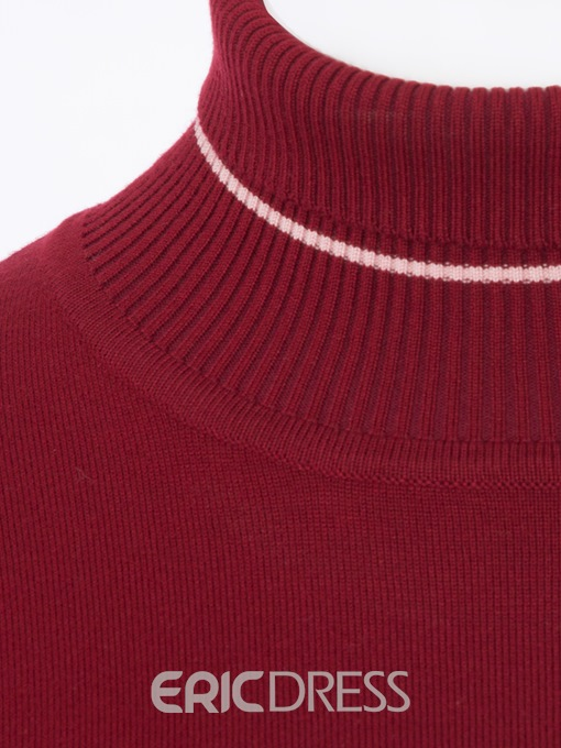 Ericdress Plain Turtleneck Slim Lantern Sleeve Knitwear
