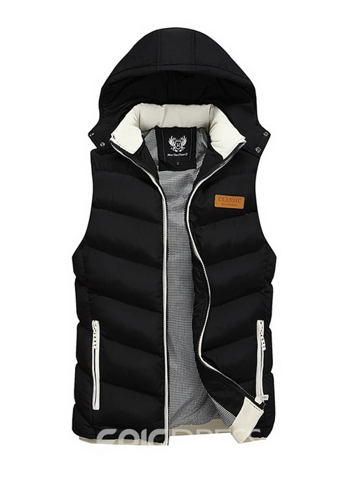 Ericdress Plain Zipper Hooded Casual Slim Men's Vest