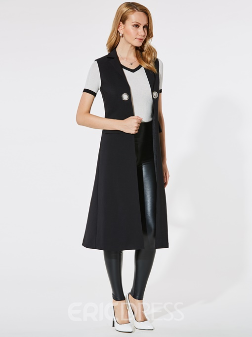 Ericdress I Type Plain Long Pocket Vest