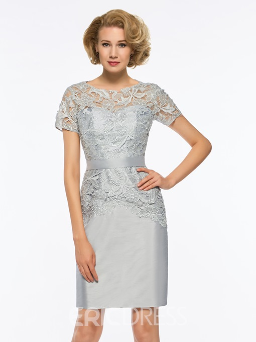 Ericdress Short Sleeves Sheath Knee Length Mother of The Bride Dress