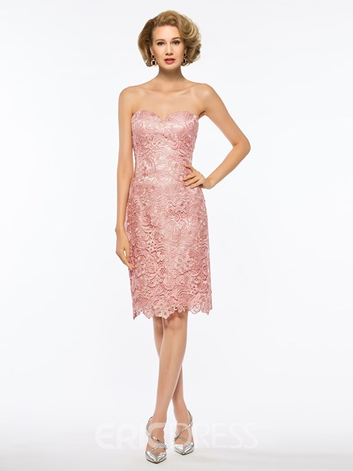 Ericdress Lace Knee Length Mother of The Bride Dress with Cape