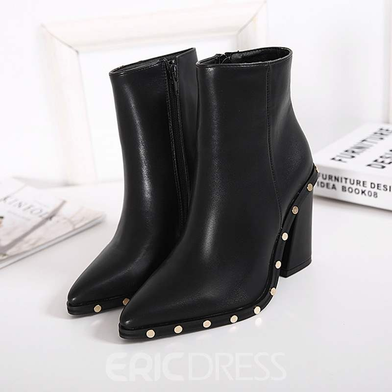 Ericdress Rivet Decorated Pointed Toe Plain High Heel Boots