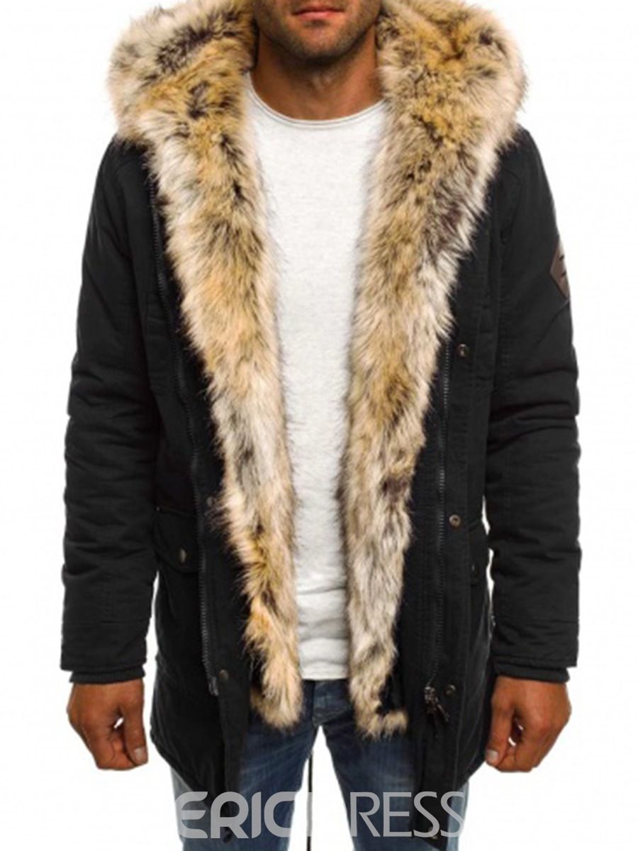 Ericdress Plain Faux Fur Zipper Thicken Warm Men's Winter Coat