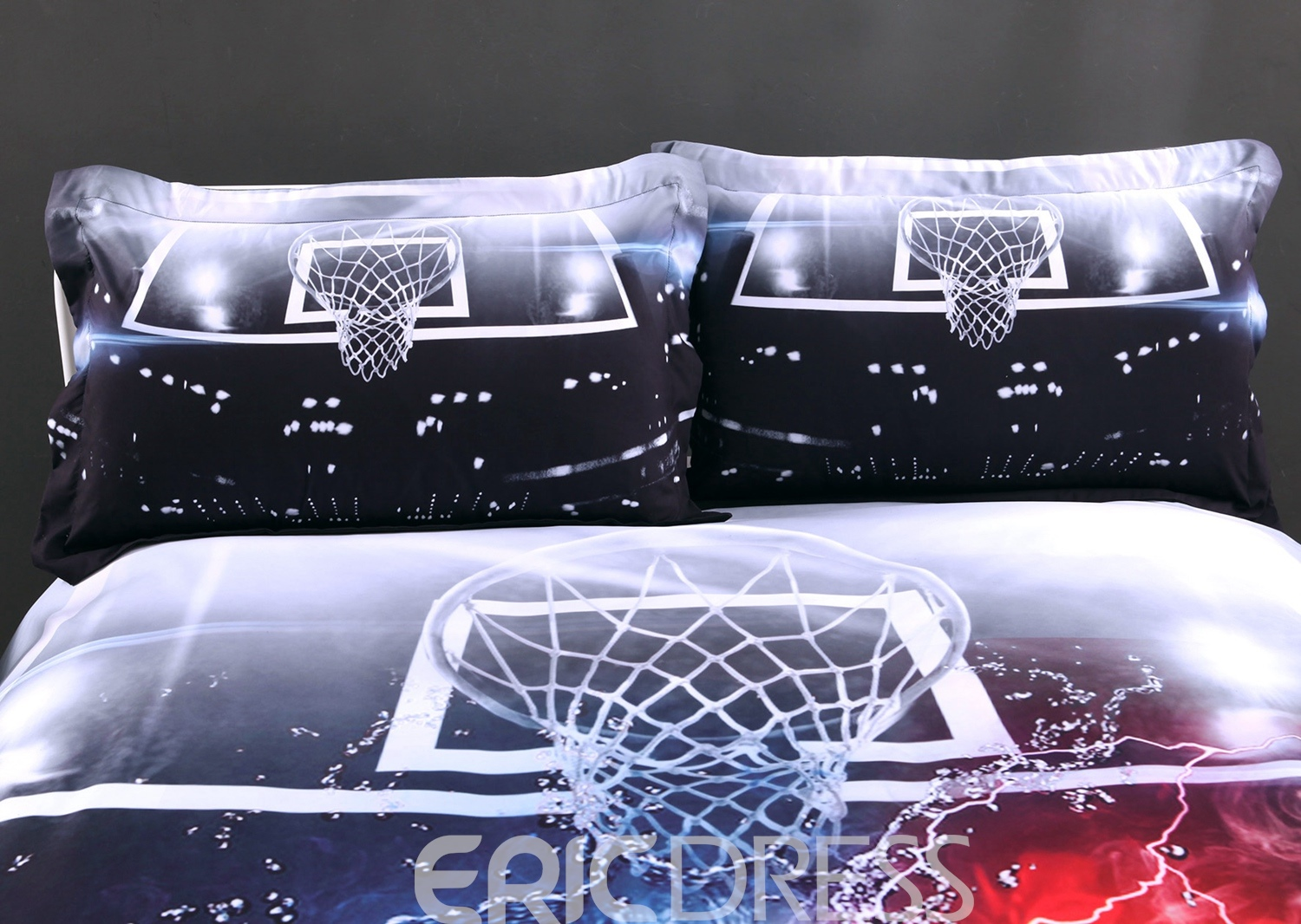 Vivilinen 3D Basketball Ball in Fire and Water Printed Cotton 4-Piece Bedding Sets