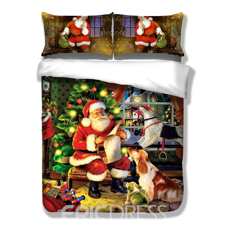 Vivilinen 3D Santa Claus in Red Suit Printed Polyester 3-Piece Bedding Sets/Duvet Covers