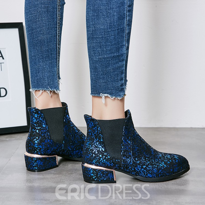 Ericdress Plain Round Toe Patchwork Ankle Boots