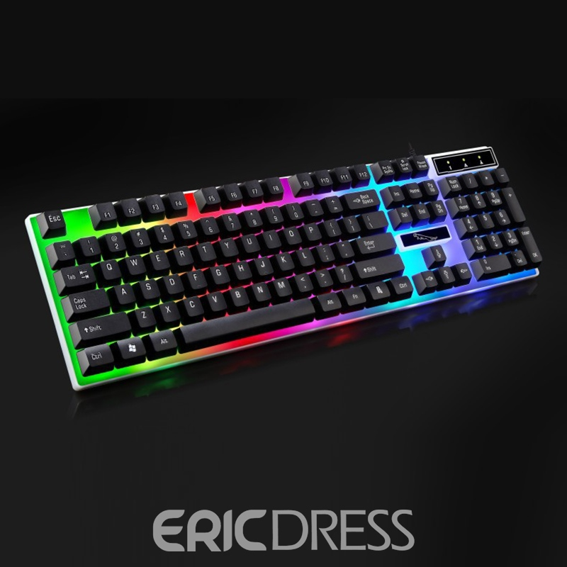 Ericdress 2018 Cheap Gaming Keyboard,USB RGB Backlit Mechanical Keyboard for PC