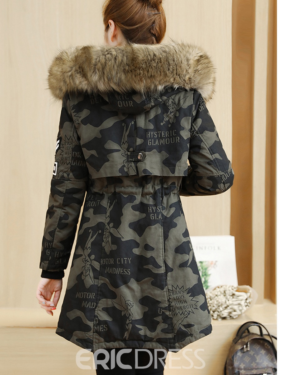 ad75021dcc1cb Ericdress Camouflage Mid-Length Fur Hooded Coat 13008084 - Ericdress.com