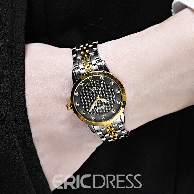 Ericdress JYY Steel Band Waterproof Quartz Watch for Men