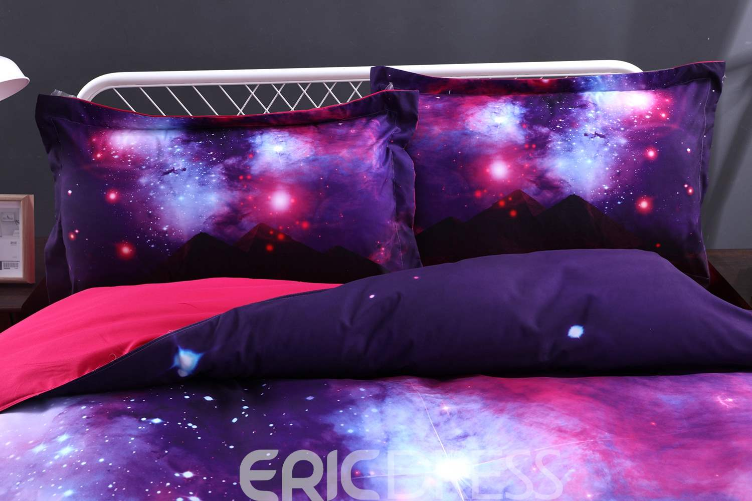 Vivilinen Scintillating Galaxy and Mountain Printed 4-Piece 3D Purple Bedding Sets/Duvet Covers
