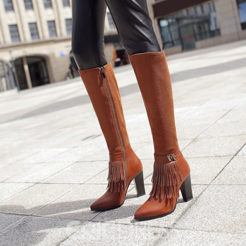 Ericdress Popular Fringe Decorated Plain Knee High Boots