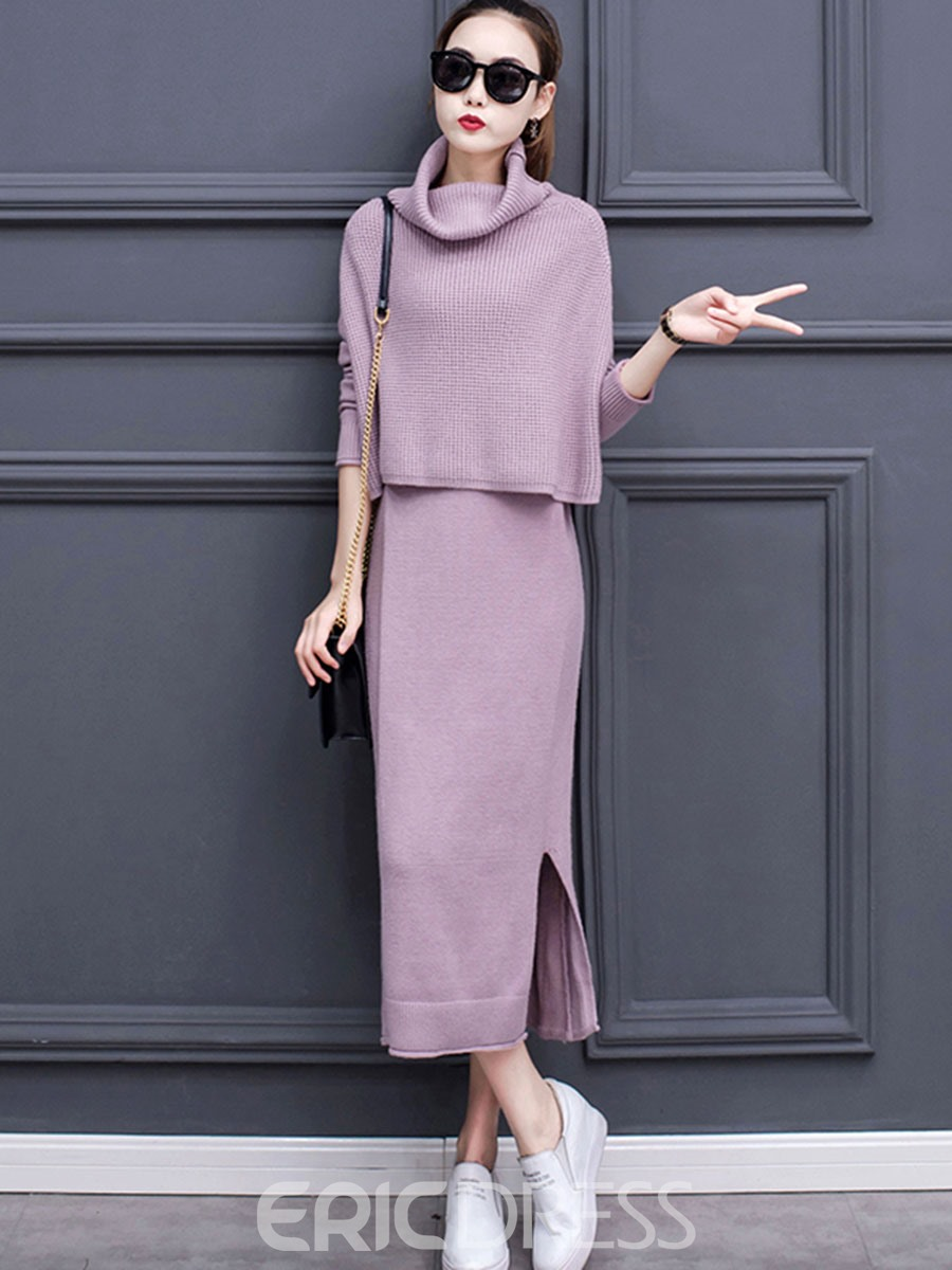 Ericdress Pile Collar Sweater and Dress Women's Two Piece Set