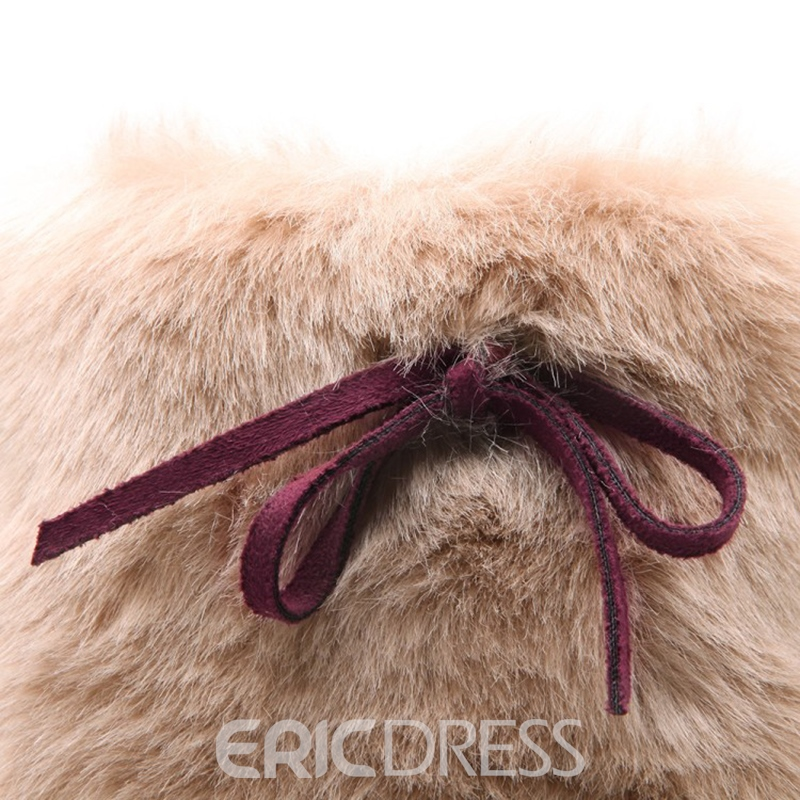 Ericdress Fuzzy Platform High Heel Boots with Bowknot