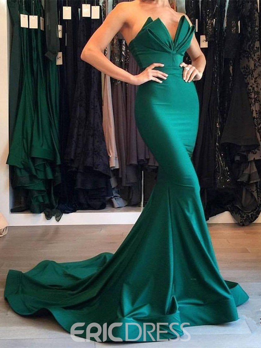 Ericdress Sweetheart Sleeveless Mermaid Evening Dress With Train
