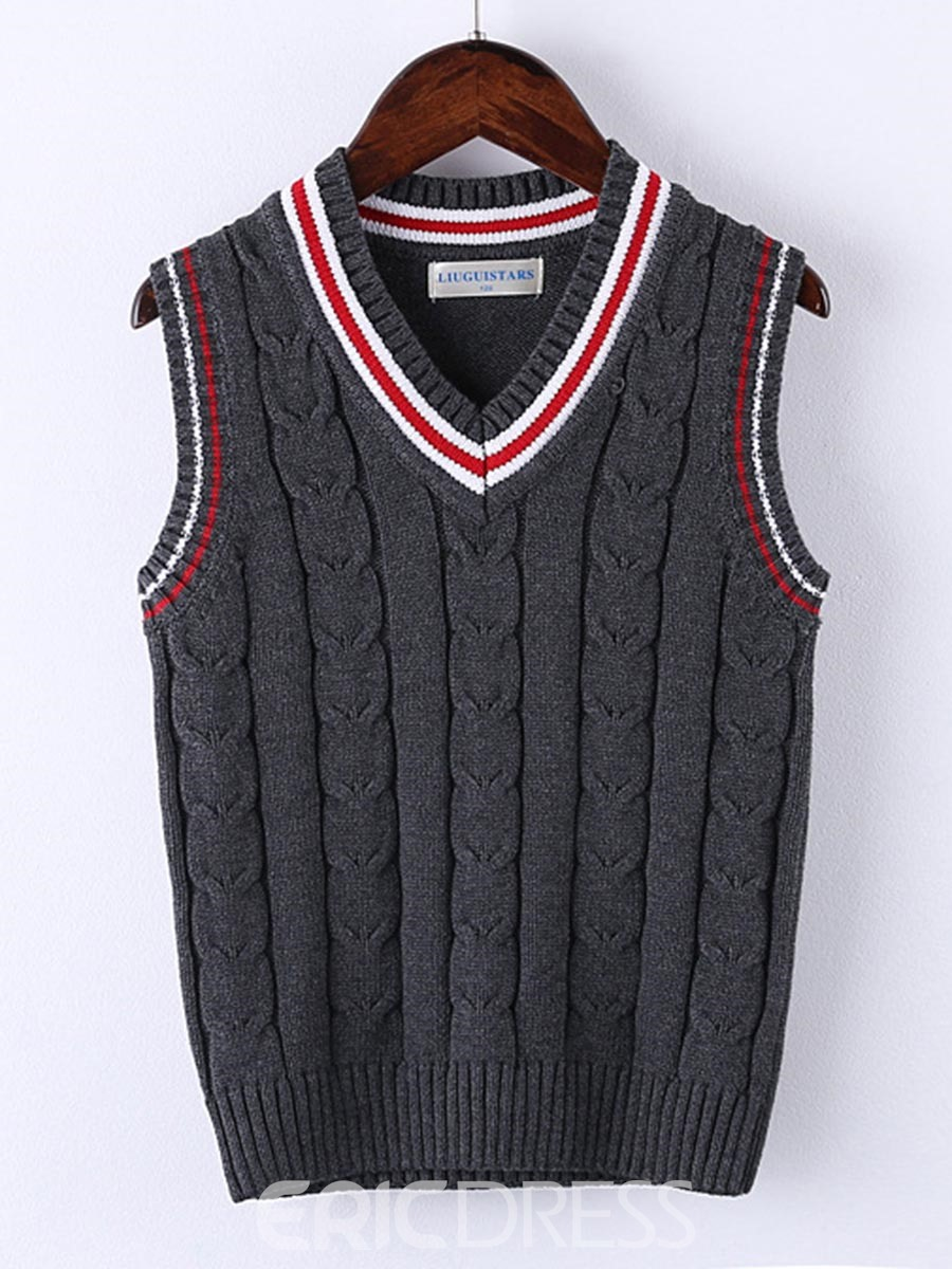 Ericdress V-Neck Stripe Sleeveless Vest Sweater