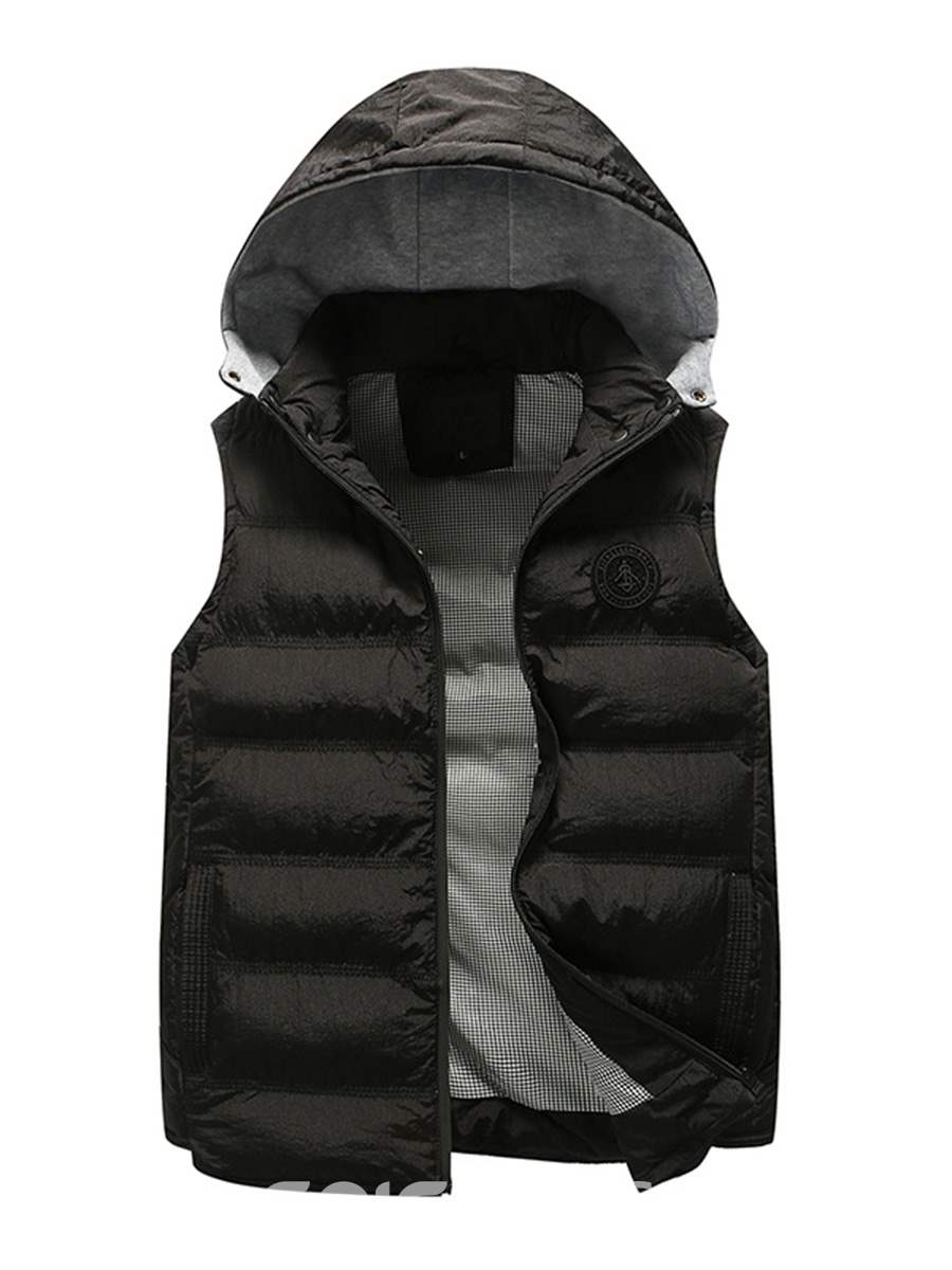 Ericdress Plain Hooded Zipper Cotton Casual Slim Men's Vest