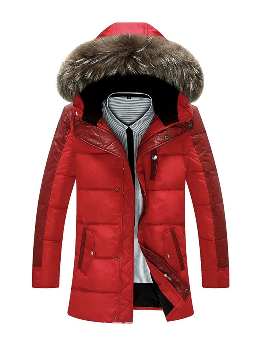 Ericdress Plain Faux Fur Hooded Zipper Slim Men's Winter Coat