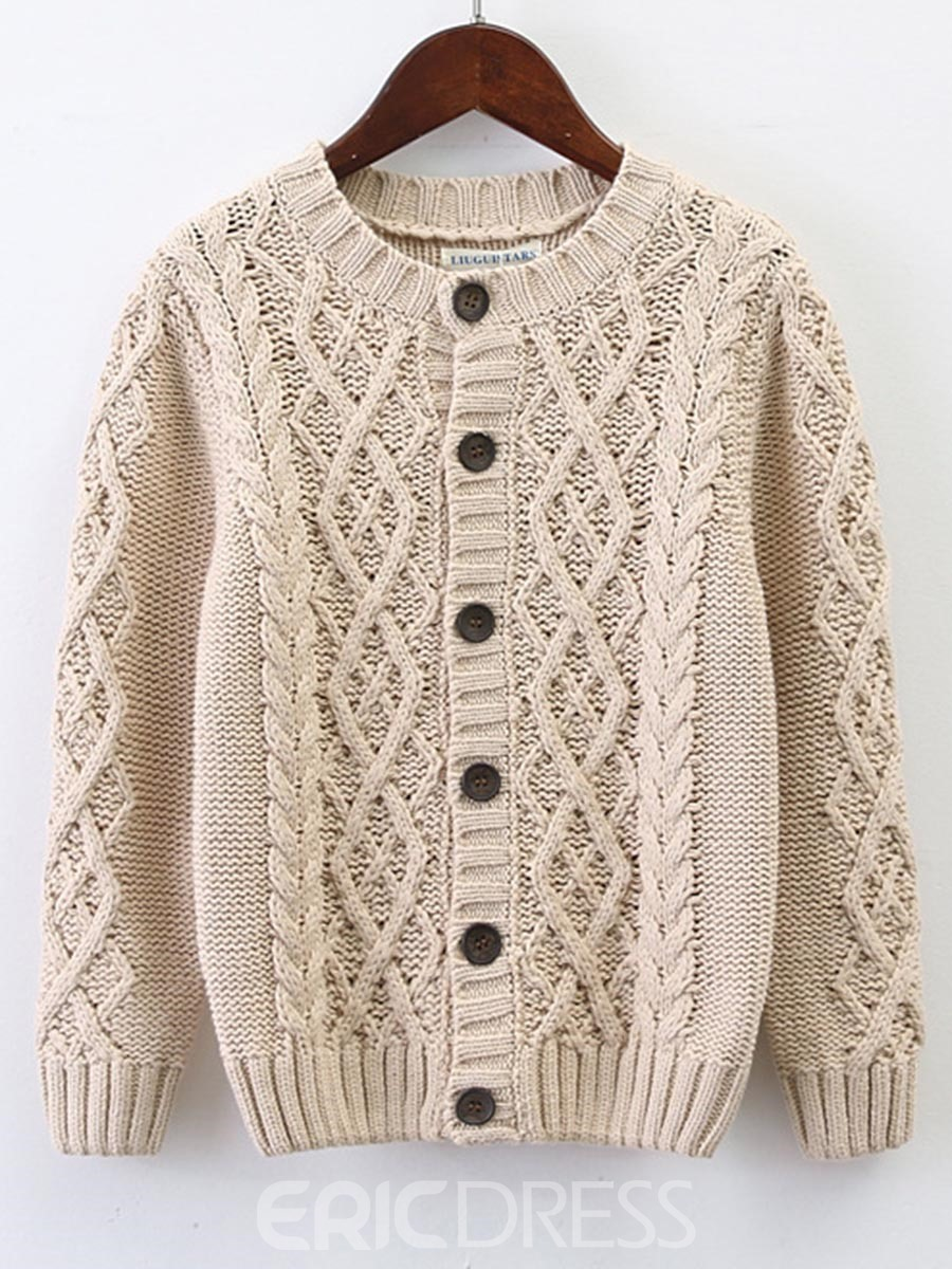 Ericdress Knitting Round Neck Button Thick Sweater Outerwear