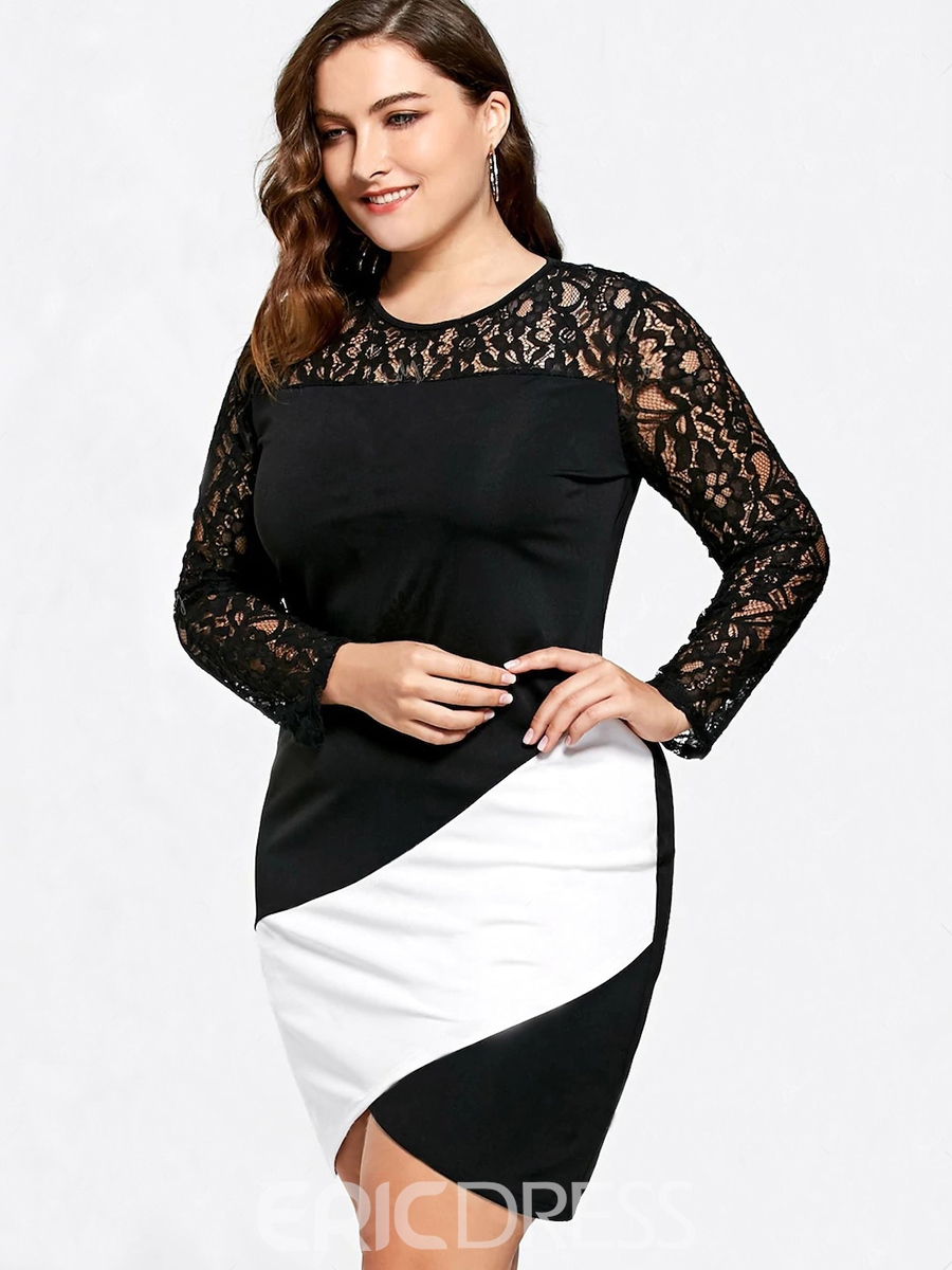 Ericdress Lace Patchwork Color Block Plus Size Bodycon Dress