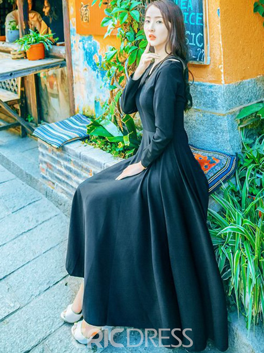 Ericdress V-Neck Expansion Long Sleeves Maxi Dress