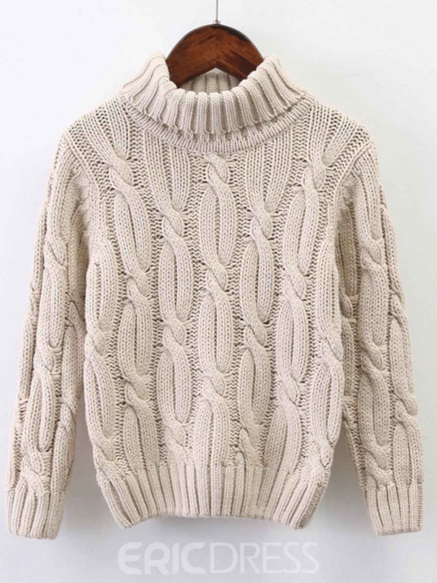 Ericdress Knitting High-Neck Hedging Thick Sweater