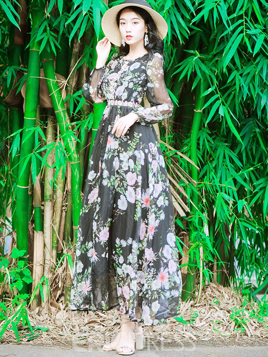 Ericdress Floral Print See-Through Long Sleeves Maxi Dress