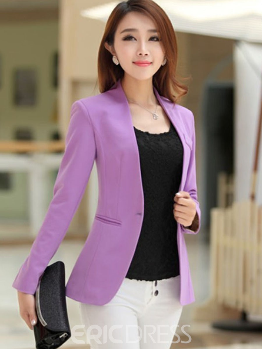 Ericdress Simple Candy Color Long Sleeves Blazer