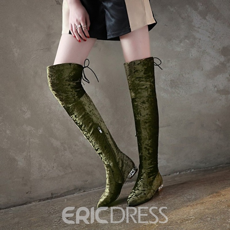 Ericdress Fashion Suede Pointed Toe Knee High Boots