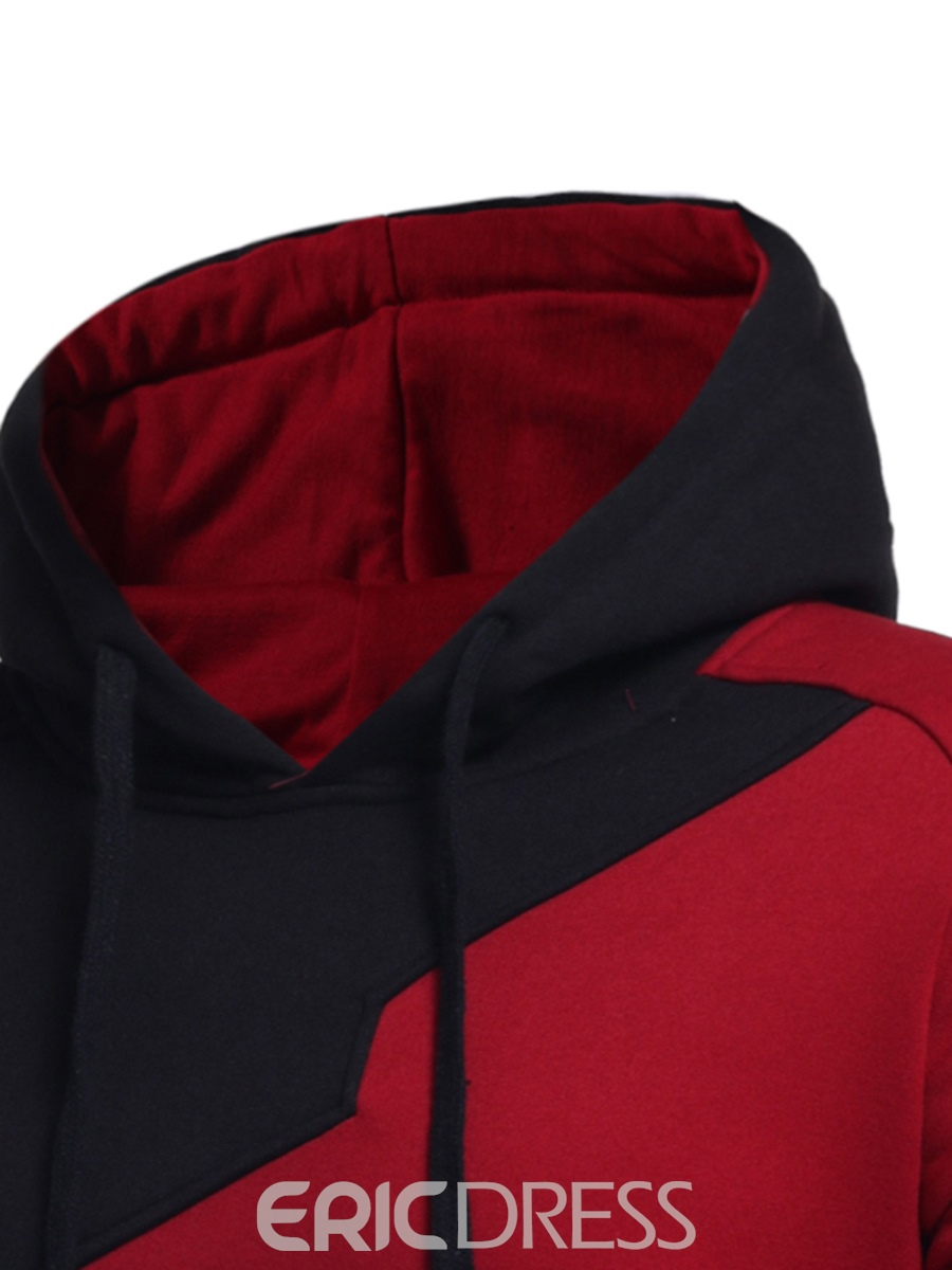 Ericdress Hooded Color Block Long Sleeve Pullover Men's Hoodie