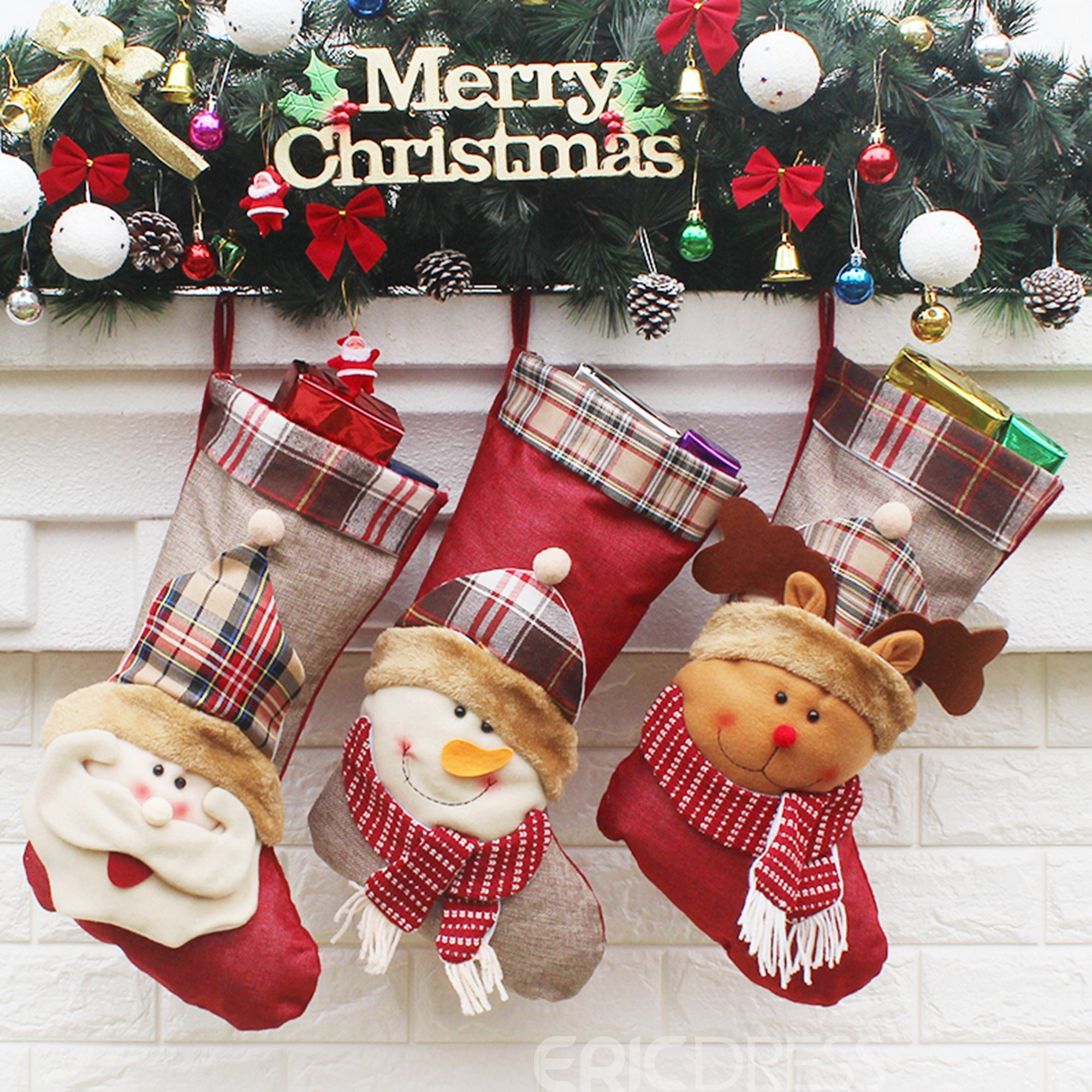 Christmas Hat Sweet Animals Socks 3 Pairs