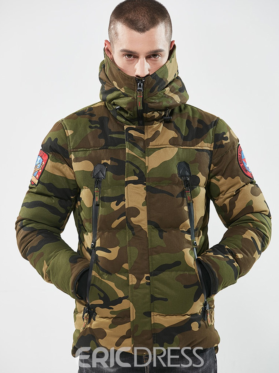 Ericdress Camouflage Zipper Cotton Casual Slim Men's Winter Coat