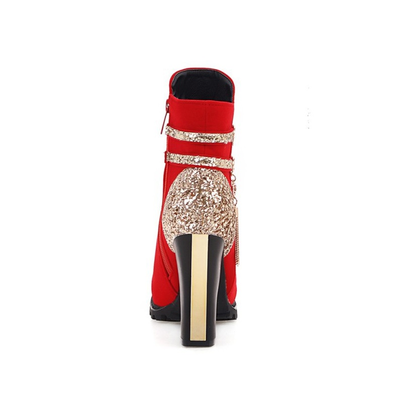 Ericdress Rhinestone Fringe Color Block High Heel Boots