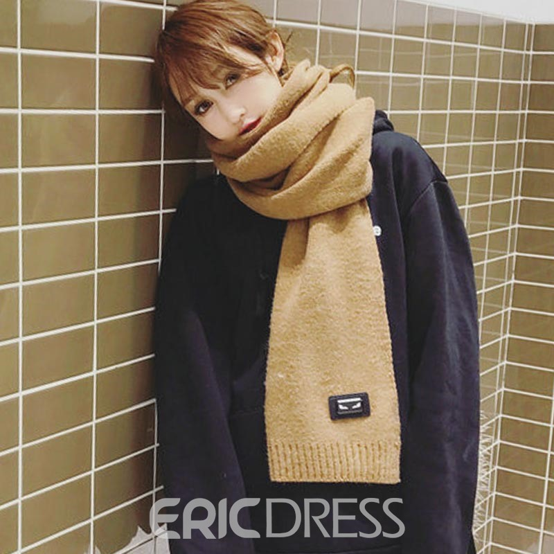 Ericdress Solid Color Knitting Trendy Women's Scarf