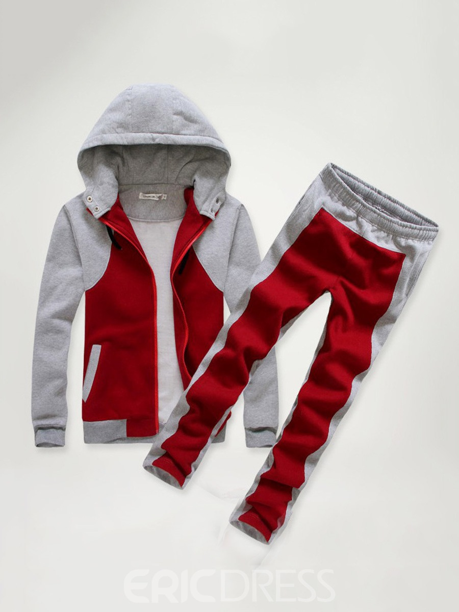 Ericdress Patchwork Color Block Hoodie Mens Winter Outfit